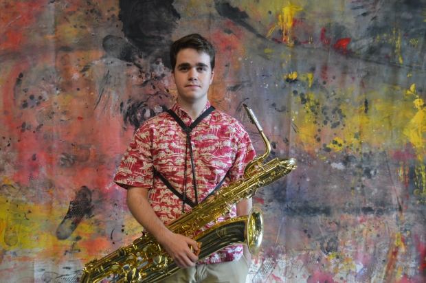 Baritone Sax player, Griffin Koelbel enjoys learning new ways to play the same songs.