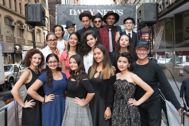 Members of Frank Sinatra School of Arts on the New York Daily News float for Columbus Day Parade NYC on October 12, 2015 in Manhattan Participants of Columbus Day Parade NYC marched up on 5th Ave to celebrate Italian-American heritage. Go Nakamura for New York Daily News