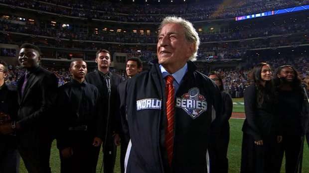 """FSSA students and Tony Bennett sing """"America the Beautiful"""" at Game 5 of the World Series in Queens."""