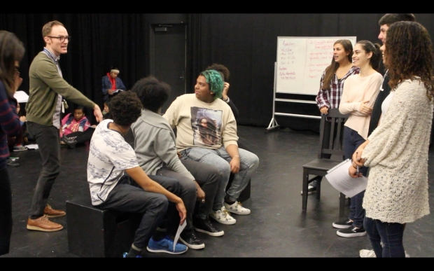Students rehearse for the show.