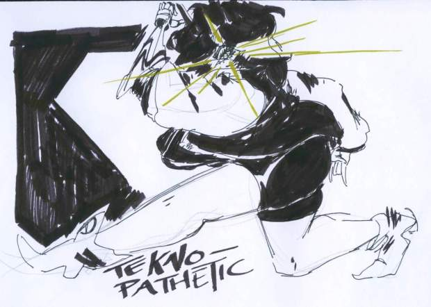 "Andy Chen was inspired by a soundtrack called ""Teknopathic"" from the video game ""Jet Pack Radio."" The fast pace of the song relates to the movement of the figure."