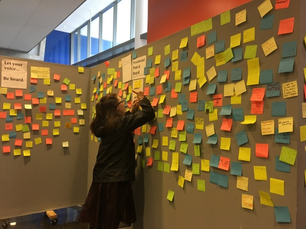 Students posted their opinions on the post-it wall.