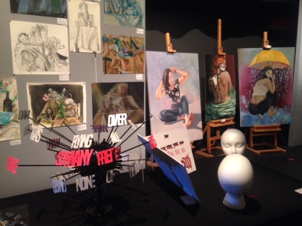 FSSA's black box theatre was transformed into an art gallery displaying 10-12th grade art work.